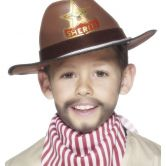 Cowboy Hat With Sheriff Badge Brown