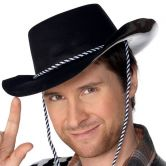 Cowboy Hat Flocked Plastic Black